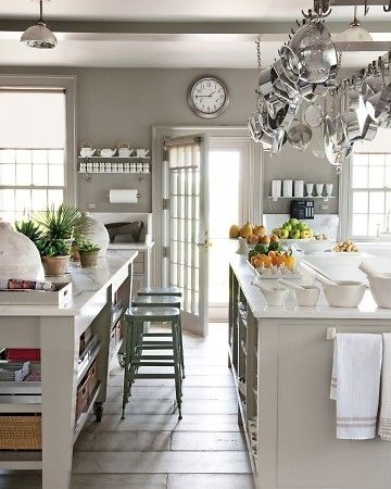 I like the grey paint.  And the floors.  And all the shiny stainless pots.: Pots Racks, Wall Colors, Dreams Kitchens, Grey Wall, Grey Kitchens, Gray Kitchens, Martha Stewart, Hanging Pots, White Kitchens