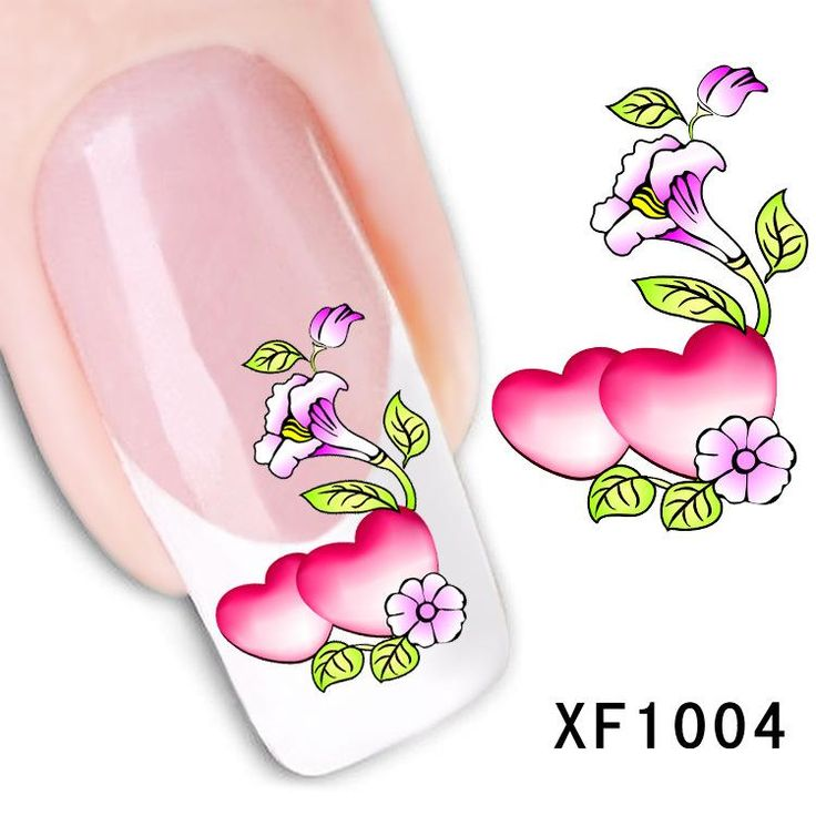 [Visit to Buy] love heart design Water Transfer Nails Art Sticker decals lady women manicure tools Nail Wraps Decals wholesale heart #Advertisement