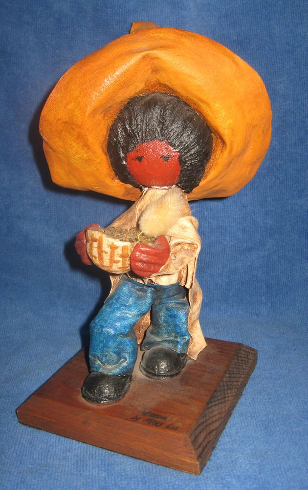 "Paper Mache Mexican Child Boy Figurine ""Arizona"" by Mary Lu Rare One of a Kind"