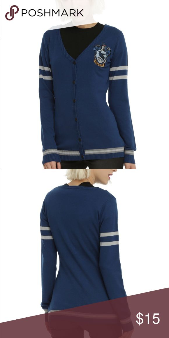 Harry Potter Ravenclaw Cardigan From Hot Topic, worn once! In perfect condition. Blue with Ravenclaw patch on breast. Really cute for any member of the Ravenclaw House! Hot Topic Sweaters Cardigans