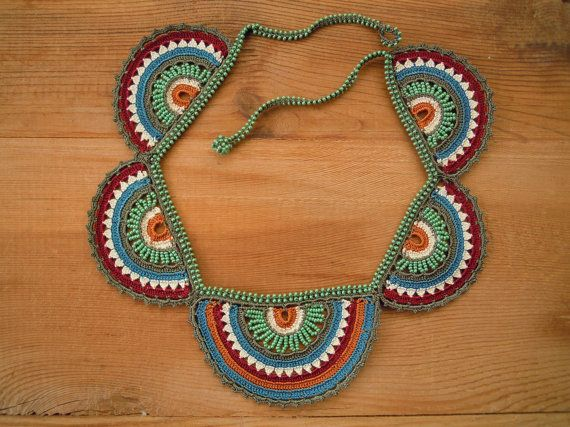 rainbow crochet necklace teal multicolored by PashaBodrum on Etsy