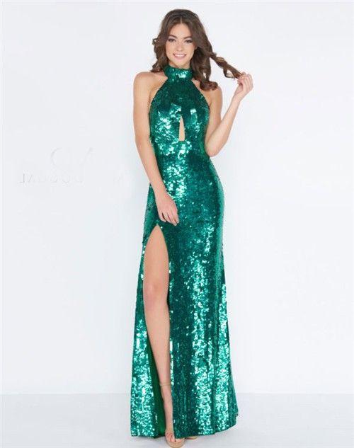 f8fac650206f Sheath High Neck Halter Front Keyhole Emerald Green Sequin Evening Prom  Dress With Slit#greendress#eveningdress