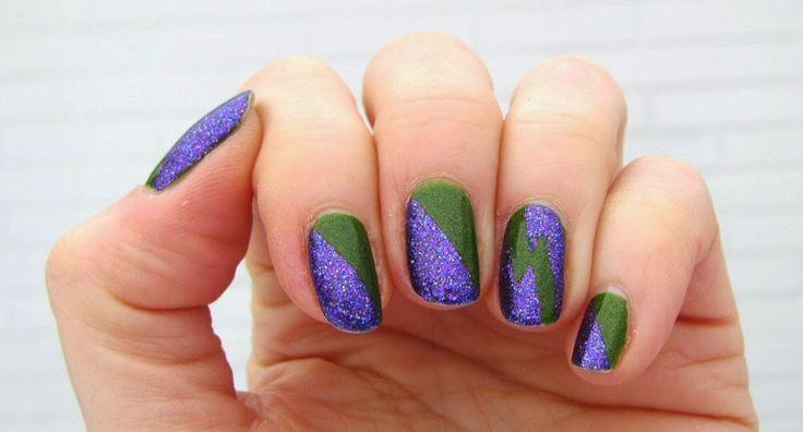 Sannes nails 2015. My Hulk nails. The dark green polish is BeYu 449 and the purple glitter is OPI DS Temptation.