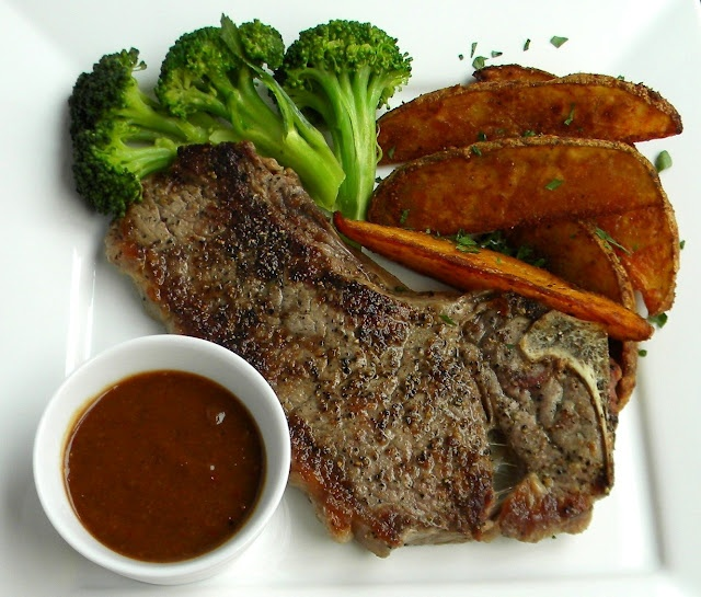 Pan-Seared Strip Steak with Cowboy Steak Sauce and Spicy Potato Wedges