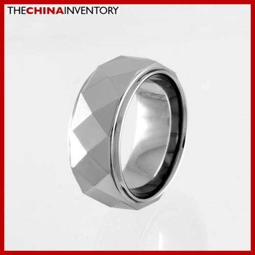8MM SIZE 14 FACETED TUNGSTEN CARBIDE BAND RING R0914