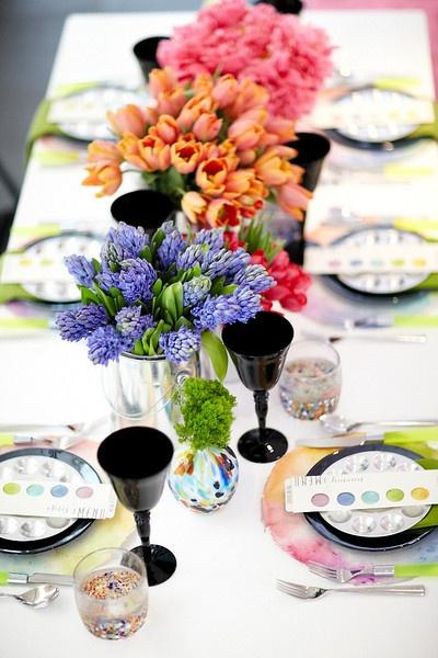 Watercolor themed tablescape #Tablescape #weddings #Watercolor #Decor