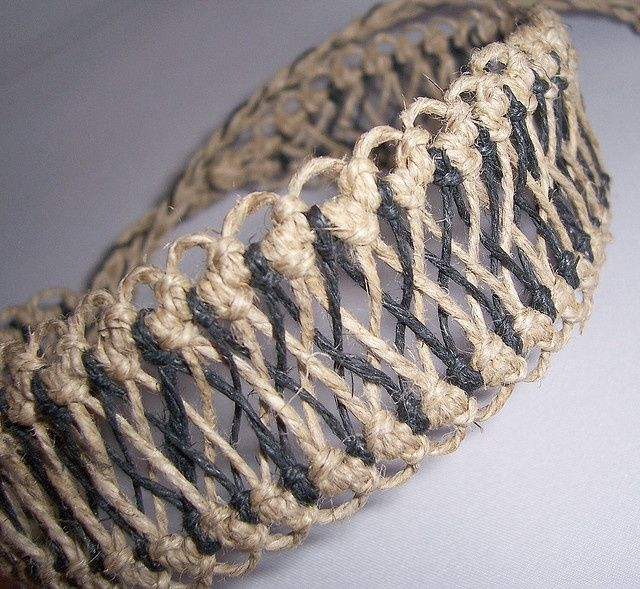 "Hemp Jewelry-Black and Natural Hemp Choker made in an ""X"" Pattern by Totally Hemp, via Flickr- uses larks head knots"