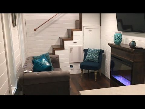 Gorgeous tiny house with 2 bedrooms a fireplace youtube tiny houses other small homes - Fireplaces for small spaces property ...