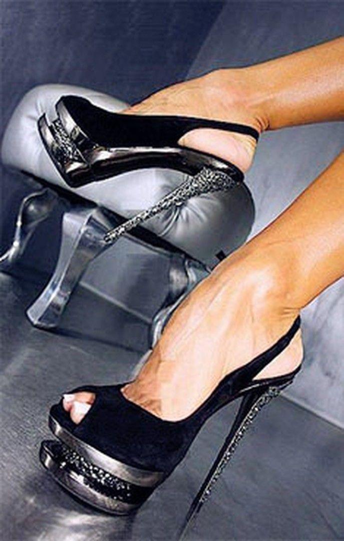 Shoespie Sexy Black Sky High Peep Toe Heels