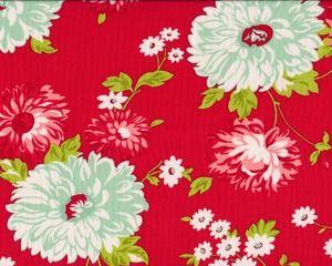 Patchworkstoff SCRUMPTIOUS, große Blumen, rot-weiß