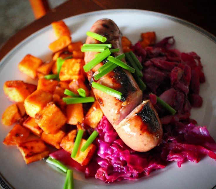 chicken & apple sausage with sauteed yams and sweet & sour red cabbag...