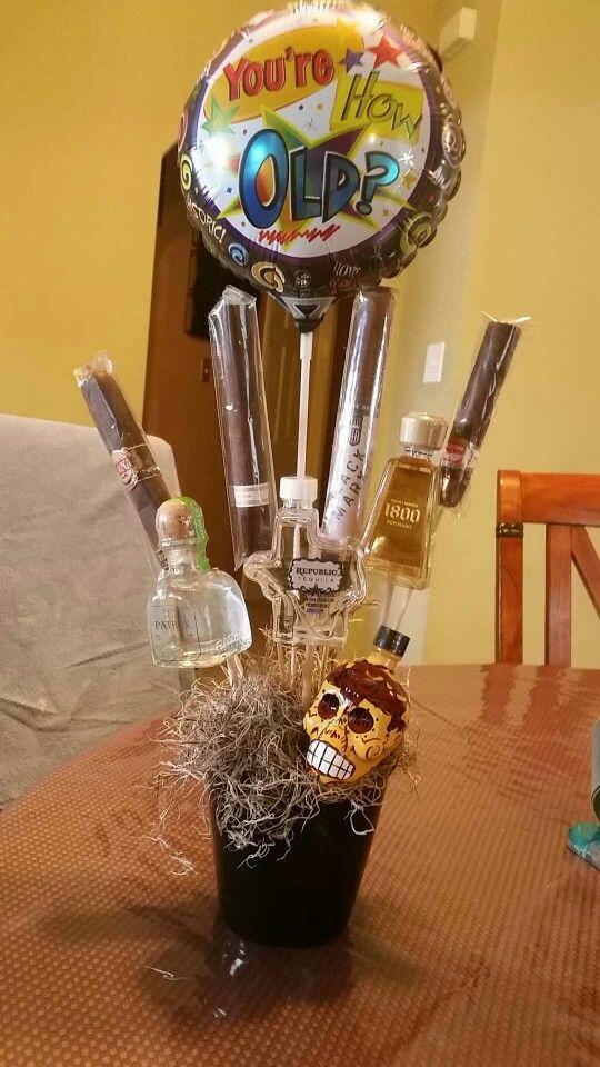 Manly gift basket,  alcohol basket.