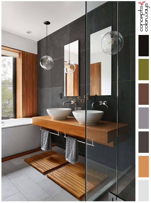 modern japanese style bathroom, interior paint palettes, color palettes, color combinations, color schemes, color ideas, color for interiors, brownish-black, blackish-brown, dark bronze, sherwin williams sealskin, brownish-orange, burnt orange, rust orange, orange toned wood, black, lilac gray, burgundy, avocado green, concrete gray, white