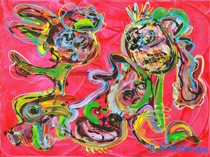 Dit is een: Acrylverf op doek, titel: 'Aansluiting zoeken' kunstwerk vervaardigd door: Ben Haveman
