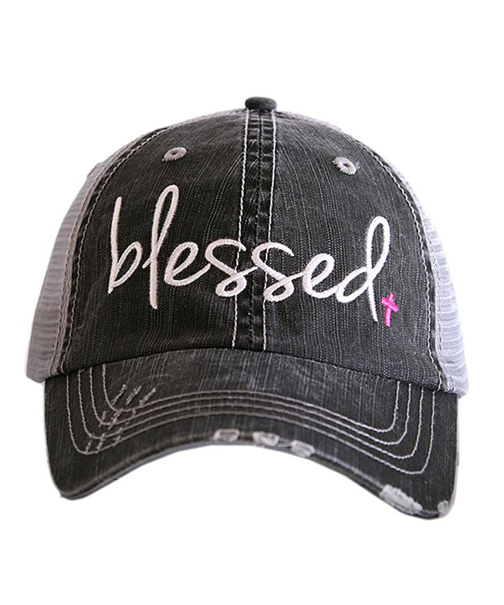 Love this Gray & Pink 'Blessed' Trucker Hat by Katydid Collection on #zulily! #zulilyfinds
