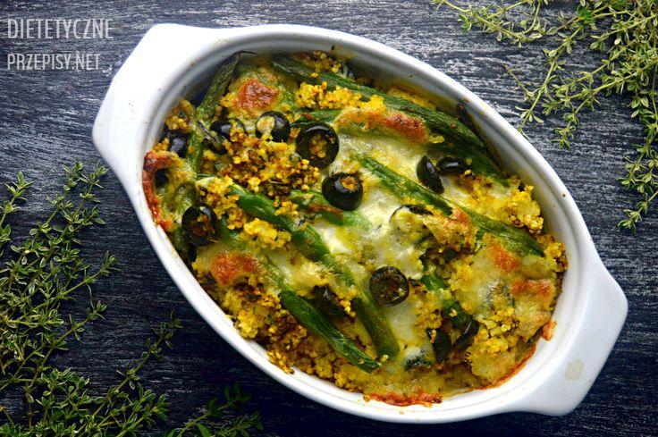 Zapiekanka z kaszy jaglanej z cury fasolką szparagową i oliwkami