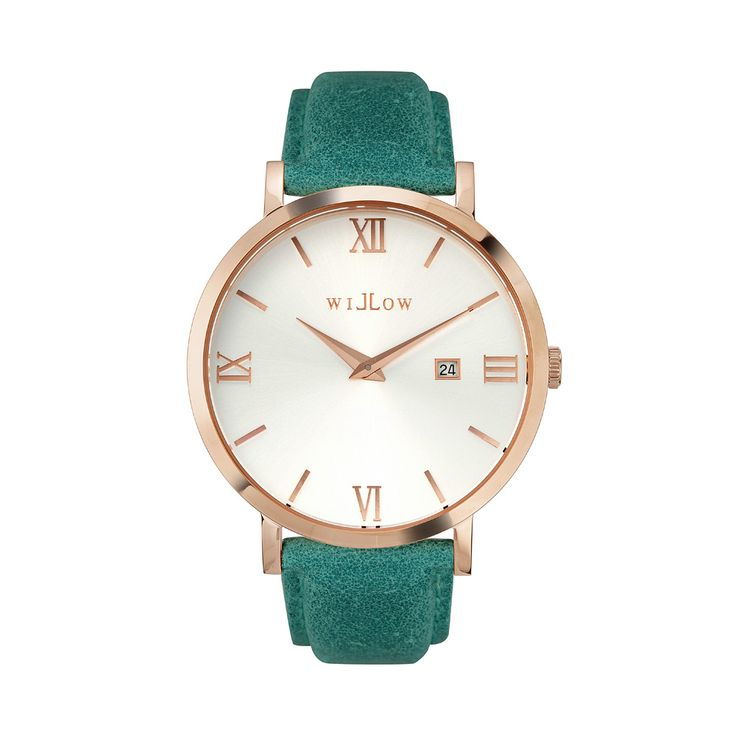 Siena Rose Gold Watch & Interchangeable Teal Leather Strap.