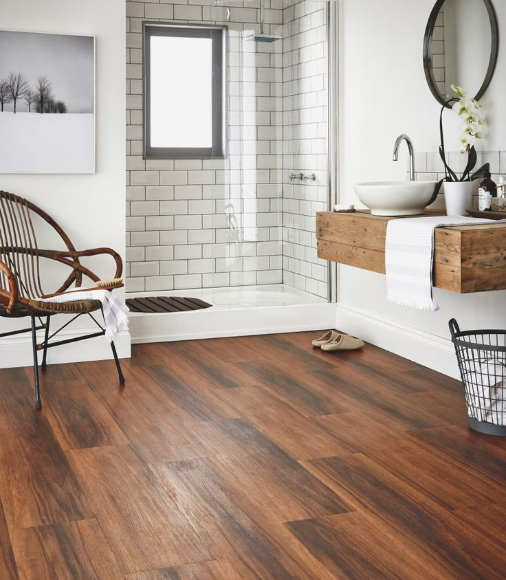 25 best ideas about wood floor bathroom on pinterest bathrooms teak flooring and baths for Best flooring options for small bathrooms