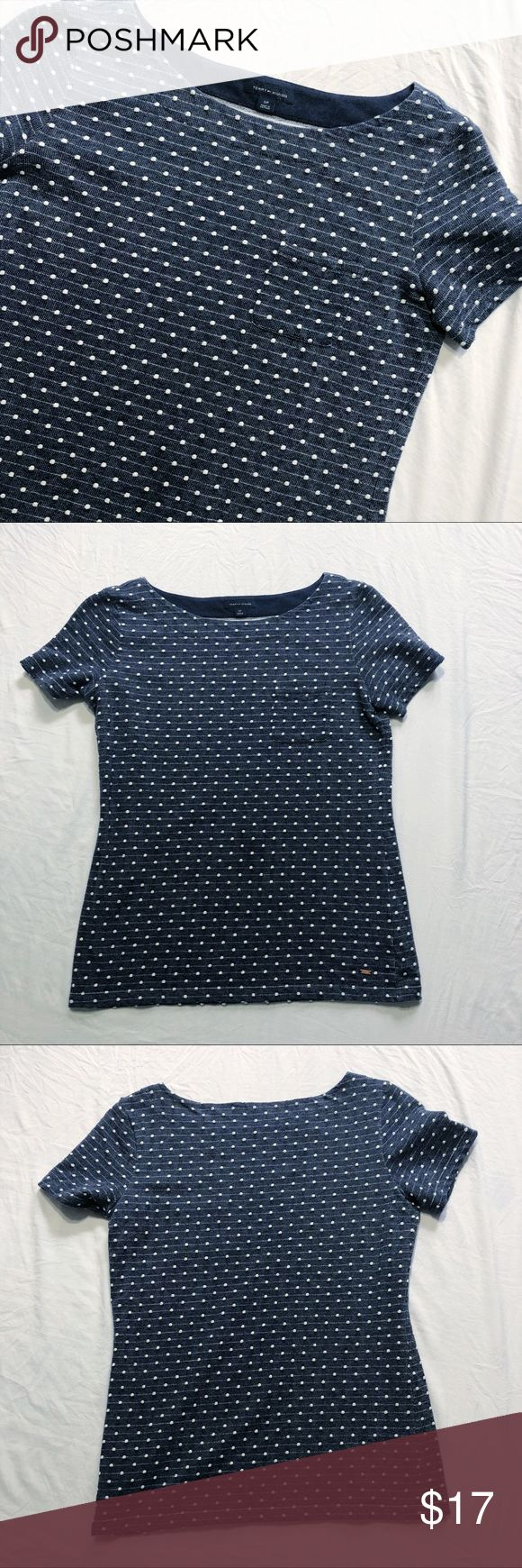 """TH Tommy Hilfiger Polka Dot Short Sleeved Blouse Tommy Hilfiger Polka Dot Navy Short Sleeved Blouse. Perfect for spring! Size S. Excellent used condition. 78% Cotton, 22% Polyester. Approximate measurements are included in photos and are as follows: Chest: 18.5"""" & Length: 24.5"""" Tommy Hilfiger Tops Tees - Short Sleeve"""
