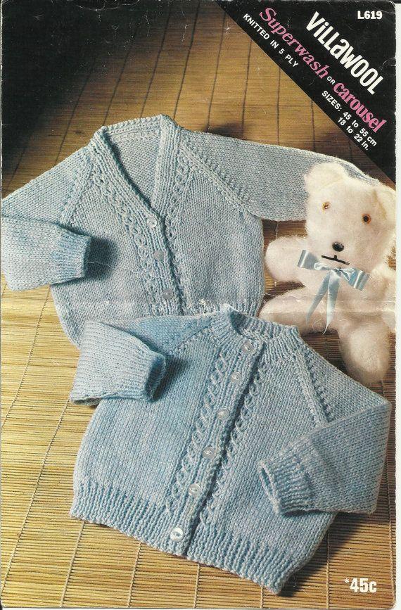 "PDF Villawool Knitting Pattern #L619, 5Ply, Sz18-22"" Jackets Cardigans"