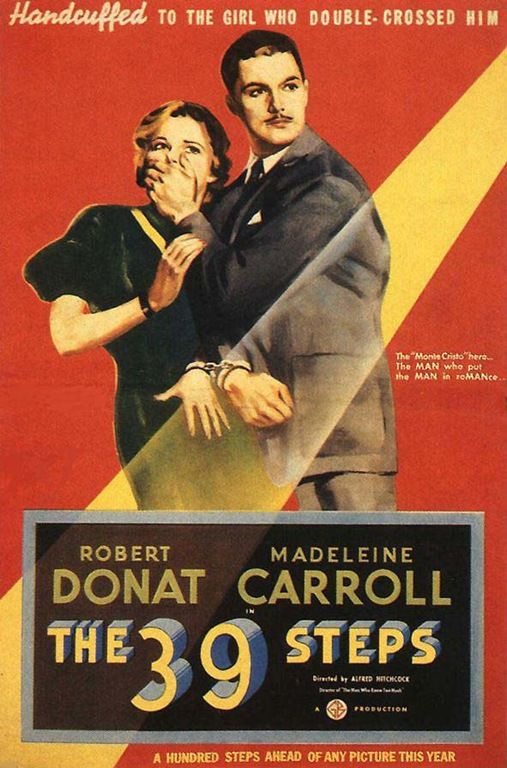 Hitchcock movie, The 39 Steps - Robert Donat and Madeleine Carroll (1935)