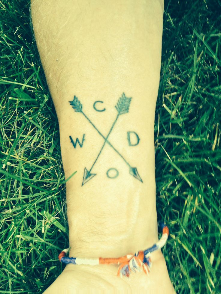 Tattoo 4. Family initials. Arrows represent crossed paths.