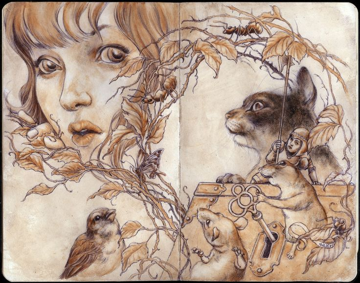"""Jeremy Hush """"Nature of Secrets"""" Ball point pen and Watercolor 8.25"""" x 10"""" (unframed) $600 Please note, shipping is not included in the sale price, buyer will be contacted with a shipping invoice after"""