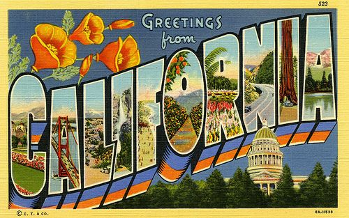 postcard - California big letters vintage by Jassy-50, via Flickr