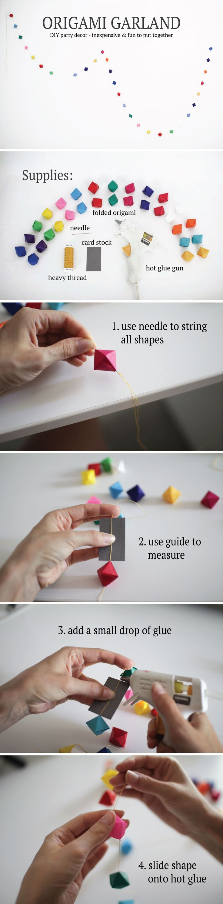 Follow this simple tutorial to create your own origami party garland! Great for birthday parties and special events. Customize with your own colors and origami shapes for fun, inexpensive decor!