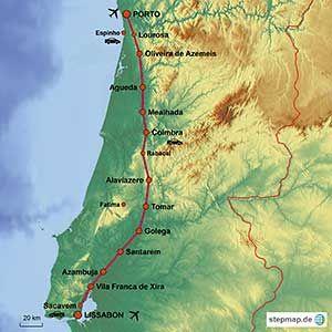 Karte der Strecken des Jakobsweges von Lissabon bis Porto