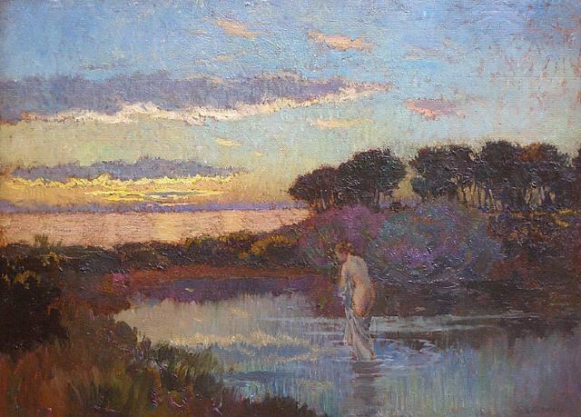 poboh:    Baigneuse au Crepuscule / Bather Crepuscule, Emile-Rene Menard. French (1862 - 1930)