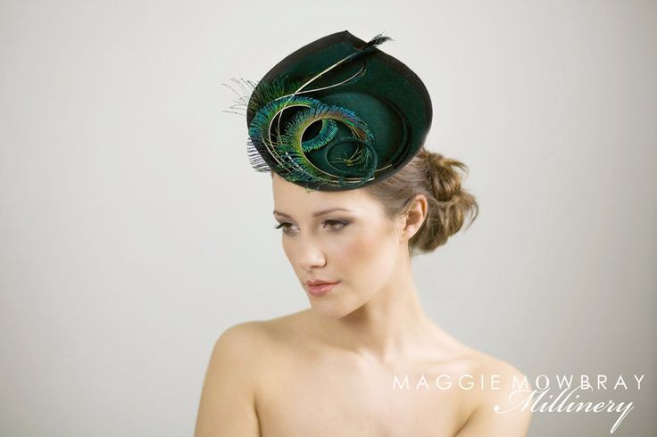 Saucer Hat for the Races, Curled Peacock Feather Statement Hat for Women - Elin by MaggieMowbrayHats on Etsy https://www.etsy.com/listing/170793518/saucer-hat-for-the-races-curled-peacock