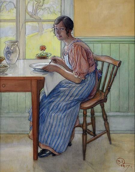 Carl Larsson. Svea in the Kitchen 1917 I never tire of Carl Larsson and his crisp colors and lines.