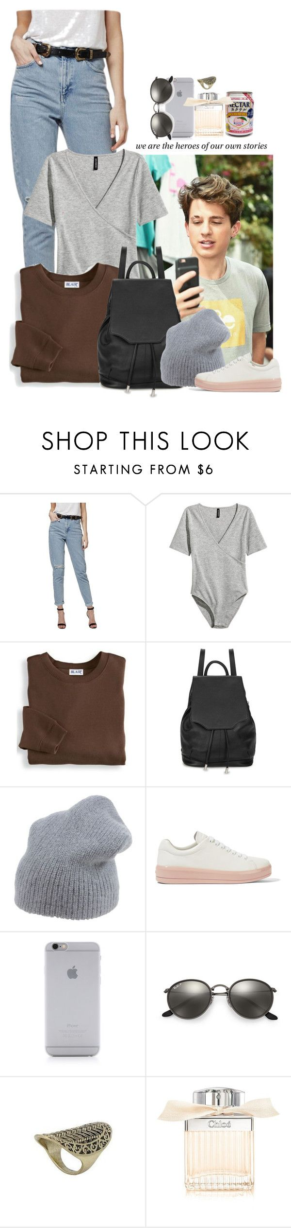 """""""heroes."""" by sticthen ❤ liked on Polyvore featuring Topshop, H&M, Blair, rag & bone, Erika Cavallini Semi-Couture, Prada, Native Union, Ray-Ban, Chloé and waves"""