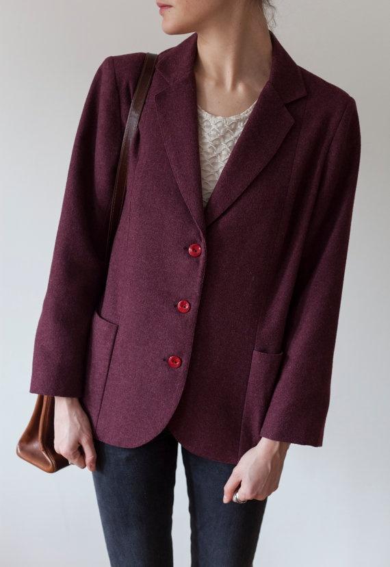 Burgundy / wine minimal vintage blazer by MarqueeMoonVintage, $45.00