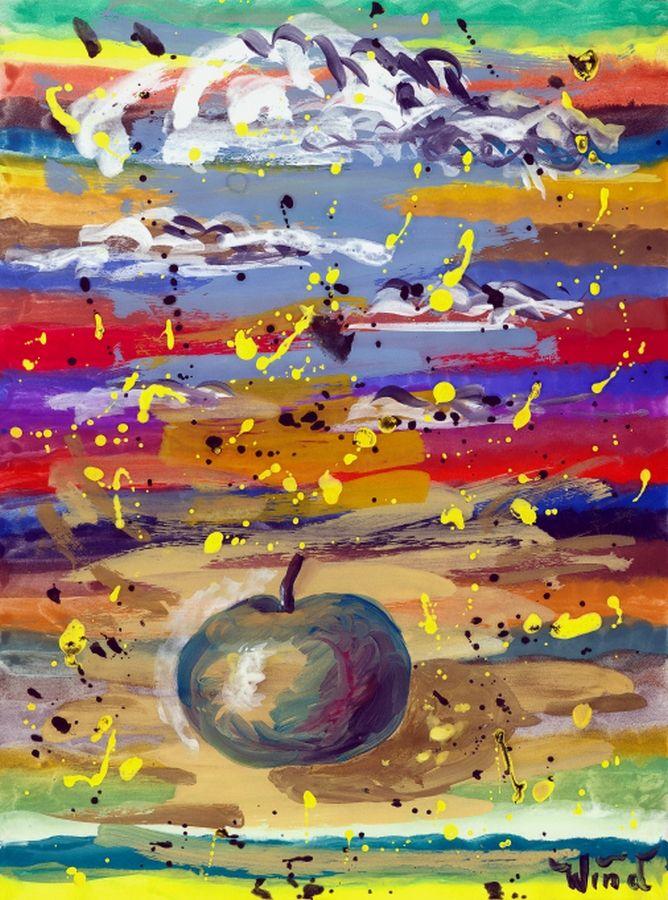 Apfel und Wolken (Apple and Clouds), ca. 1995 - Stillleben / Tachismus