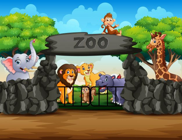 Zoo Entrance Outdoor View With Different Cartoon Animals Cartoon Animals Zoo In The Zoo Html5 available for mobile devices. cartoon animals zoo in the zoo