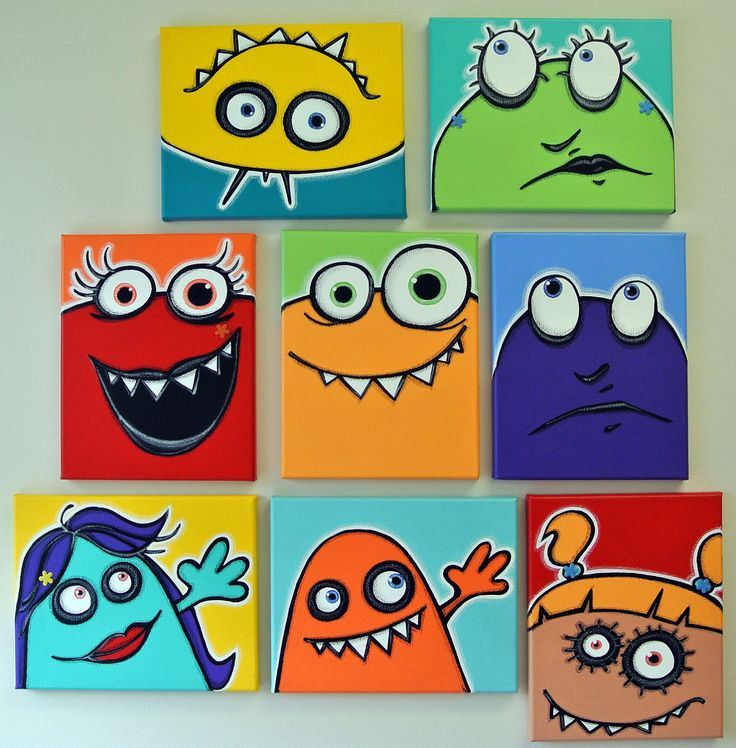 aNOThER WaLL fULL oF UgLiEs - set of 8 8x10 original paintings on multiple canvases for kids room or nursery, monster art, monster paintings. $160.00, via Etsy.