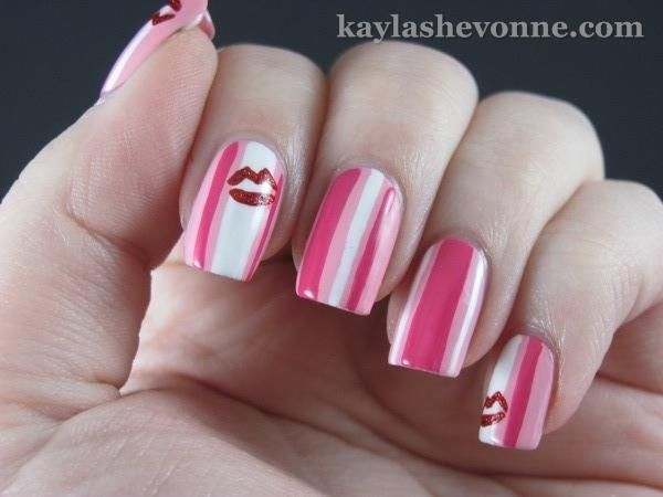 Stripes & Kisses ~ oh but yea!Nails Art, The Kiss, Pink Stripes, Nails Design, Pink Nails, Valentine Nails, Kayla Shevonn, Art Nails, Kisses Nails