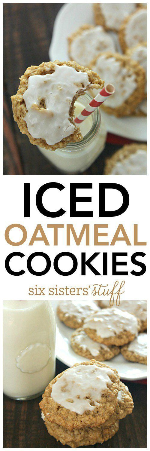 Iced Oatmeal Cookies from SixSistersStuff.com | Best Chewy Oatmeal Cookie Recipe | Dessert Recipes | Kid Approved Snacks