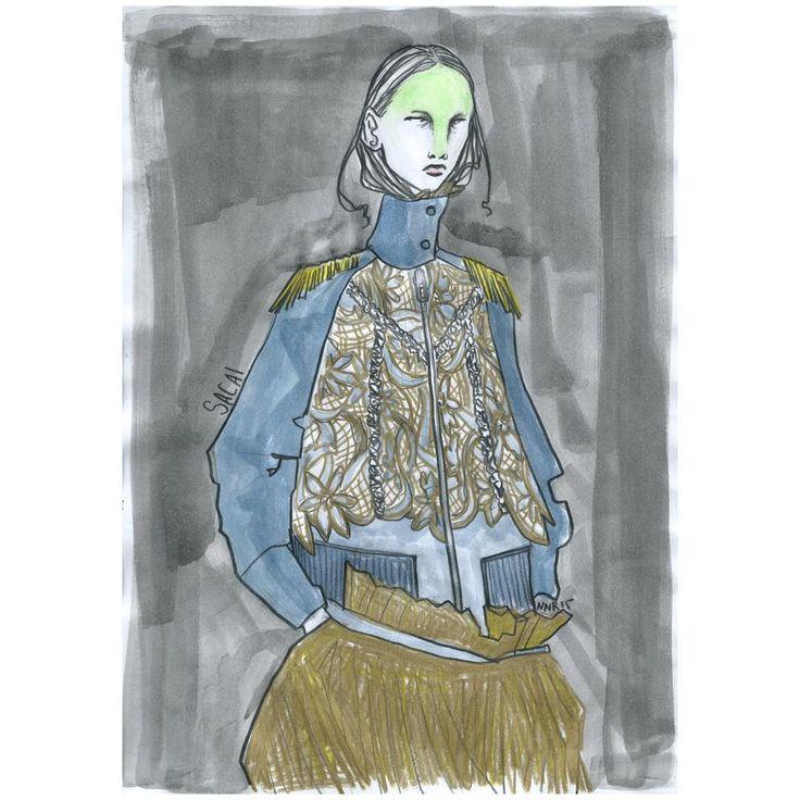 """nnr.1989 su Instagram: """"SACAI SS2016 @sacaiofficial @drawadot #sacai #sacaiofficial #chitoseabe #fashion #fashionshow #fashionweek #fashiondesign #fashionillustrator #fashionillustration #illustrator #illustration #art #artist #draw #paint #colour #watercolour #paris #parisfashion #pfw #model #boy #girl #woman #womenswear #womensfashion #work"""""""