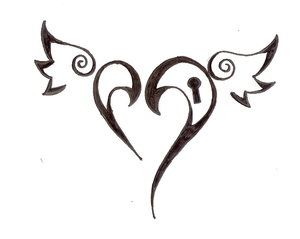love heart black tattoo
