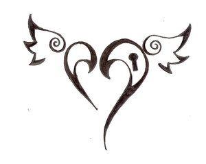 love heart black tattoo