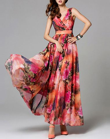 Fashion Red A-line Chiffon Floral-print Boho Maxi Dress