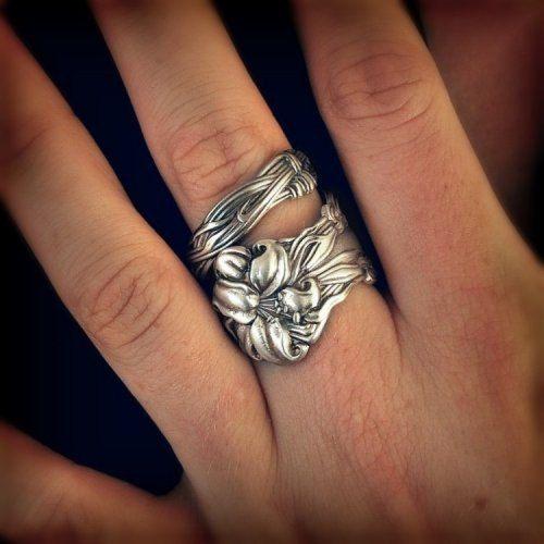 Tiger Lily Ring Sterling Silver Spoon Ring Stargazer by Spoonier