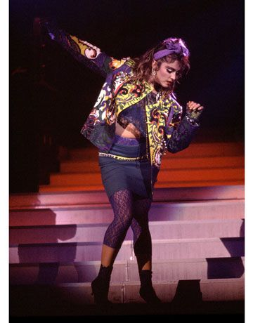 Madonna performing in Chicago in 1985   - HarpersBAZAAR.com