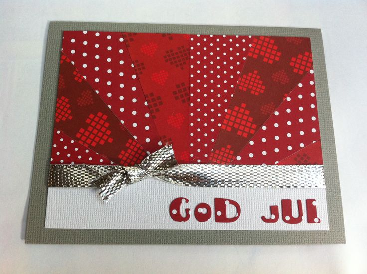 God jul/ Merry christmas (papper från Panduro, band från tygaffär och utstansade bokstäver)