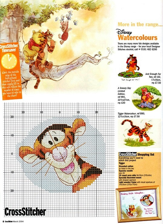 Cross-stitch Tigger  ... no color chart available, just use the pattern chart as your color guide.. or choose your own colors...