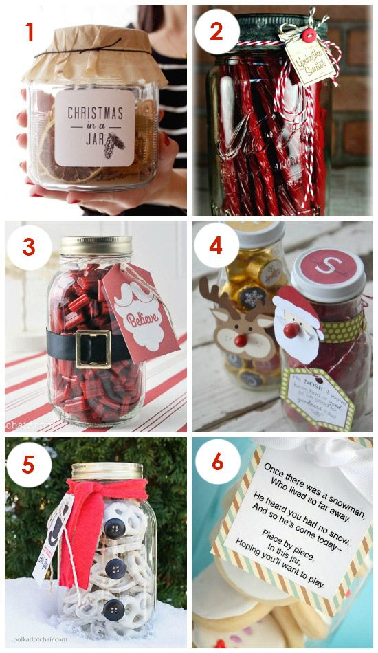So much cute Christmas Gifts IN A JAR!  Super simple but still super cute.