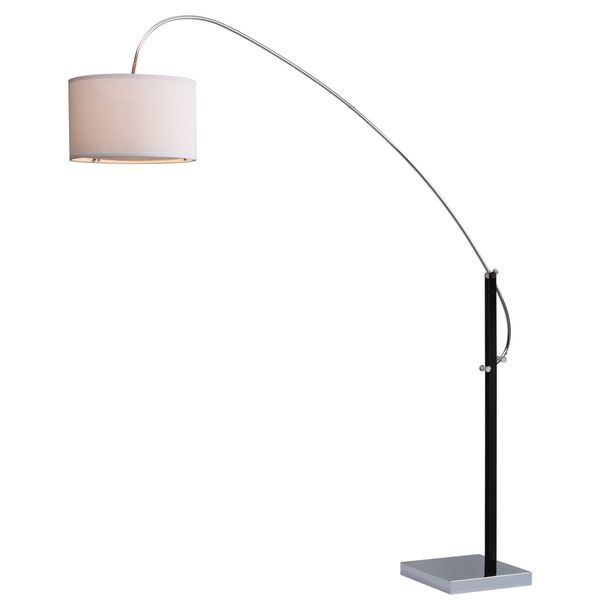 Think of it as sculpture for your living room. This stylish transitional arc floor lamp features a graceful curved metal arm in chrome rising from a base finished in black. Crowned with a chic white cotton drum shade, it complements myriad design styles. Diffuser is included.